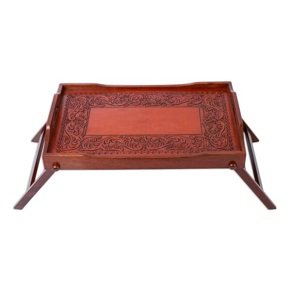 Hand Tooled Leather Cedar Folding Serving Tray by Novica