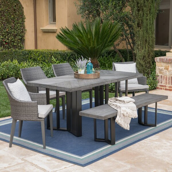 Moshier Outdoor 6 Piece Dining Set with Cushions by Ebern Designs