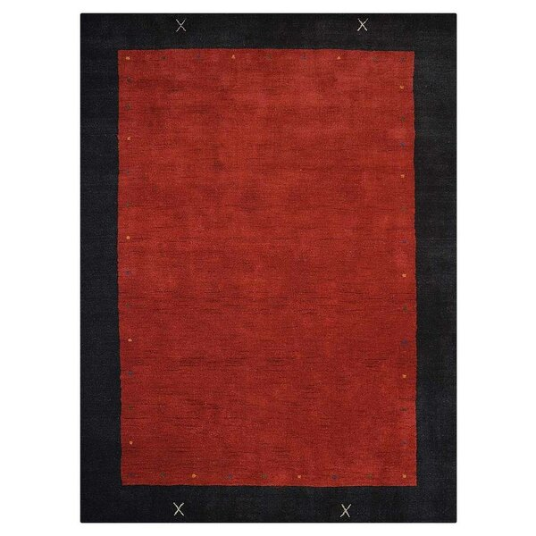 Briana Hand-Knotted Wool Red Area Rug by World Menagerie
