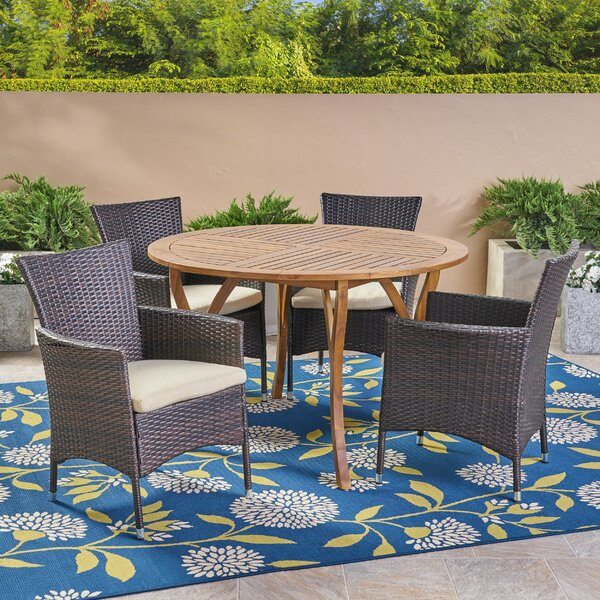 5 Piece Teak Dining Set with Cushions by Highland Dunes