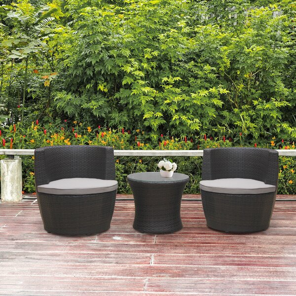 Oronogo 3 Piece Rattan Seating Group With Cushions By Orren Ellis
