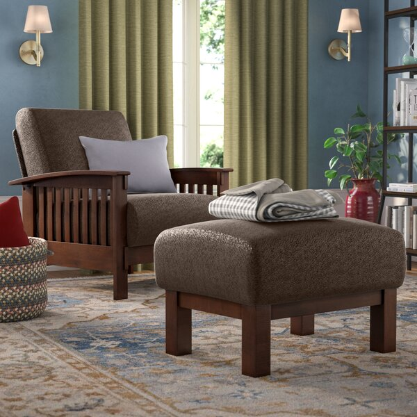 Hoekstra Mission Fabric Armchair and Ottoman by Three Posts
