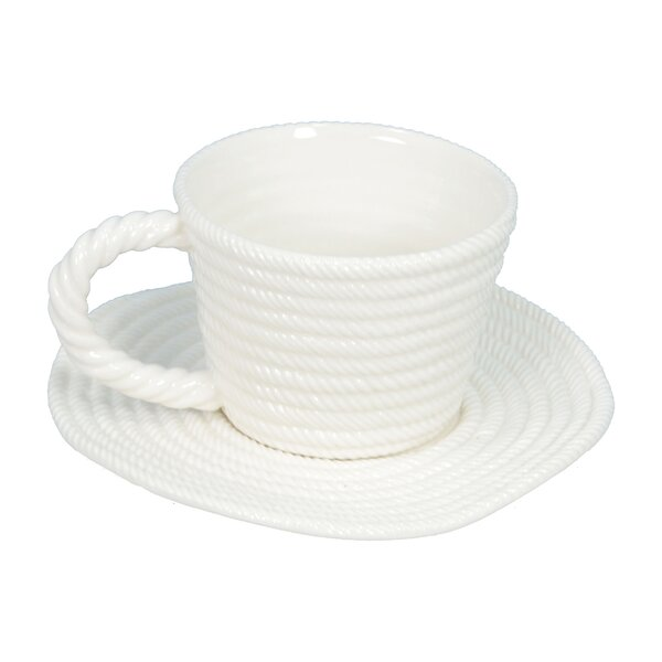Rope Coffee Cup with Plate (Set of 2) by Fantastic Craft