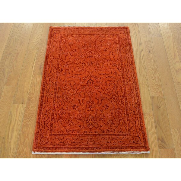 One-of-a-Kind Benally Hand-Knotted Orange Wool/Silk Area Rug by Isabelline