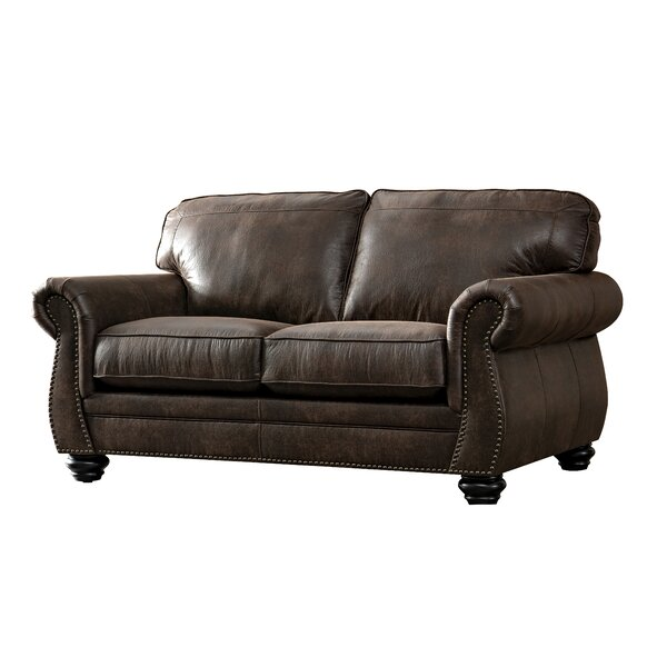 New Trendy Sandhurst Acanva Contemporary Leathaire Loveseat by Darby Home Co by Darby Home Co