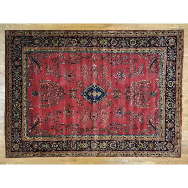 One-of-a-Kind Bowser Sarouk Fereghan New Zealand Hand-Knotted Red Wool Area Rug by Isabelline