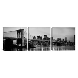 Brooklyn Bridge, Manhattan 3 Piece Photographic Print on Wrapped Canvas Set by Trent Austin Design