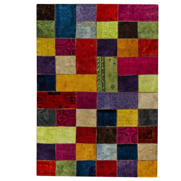 Renaissance Hand-Knotted Wool Yellow/Blue Area Rug by Hokku Designs