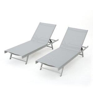 faizan aluminum frame chaise lounge set of 2