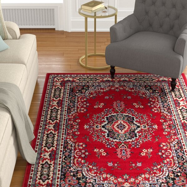 Lilly Claret Red Area Rug by Astoria Grand