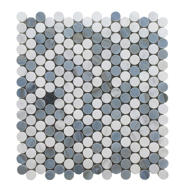 Arabescato Mixed Penny Round Stone Polished 12 x 12 Glass Mosaic Tile in Blue by Seven Seas