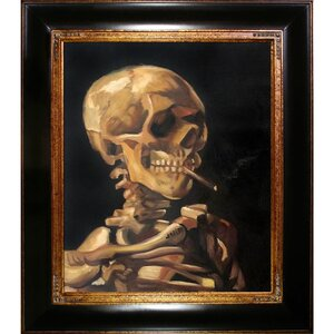 Skull of a Skeleton with Burning Cigarette by Vincent Van Gogh Framed Painting by Tori Home