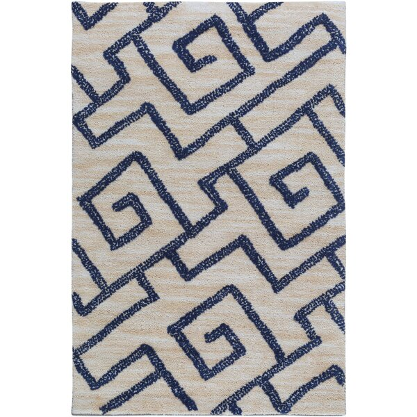 Ameila Geometric Handmade Light Gray & Navy Area Rug by Surya