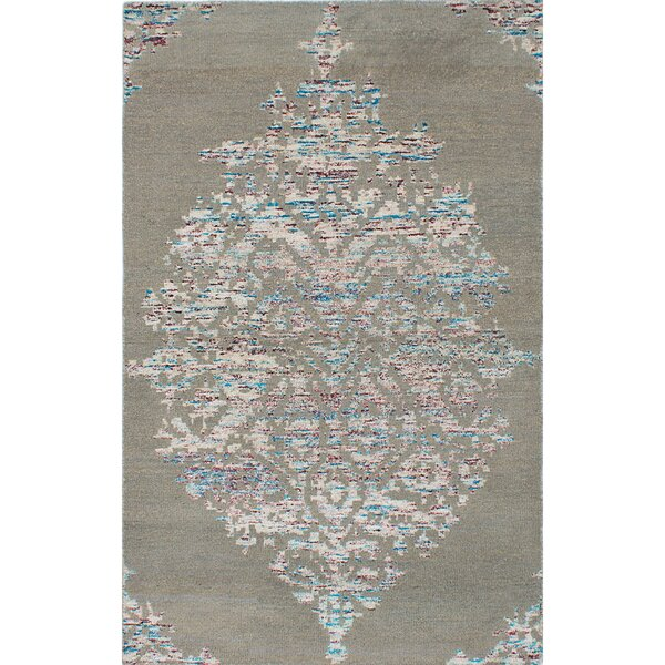 One-of-a-Kind Poplin Hand-Knotted Gray/Beige Area Rug by One Allium Way