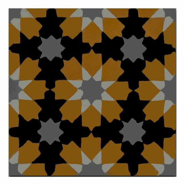 Ahfir 8 x 8 Handmade Cement Tile in Orange/Black by Moroccan Mosaic