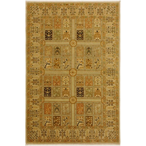 One-of-a-Kind Ernesto Turkish Hand-Knotted Wool Light Tan/Light Gray Area Rug by Bloomsbury Market