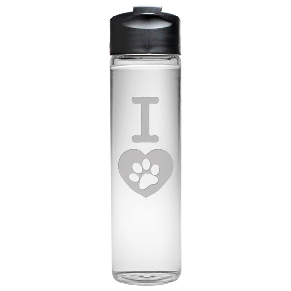 I Heart Paw Travel Water Bottle by Susquehanna Glass