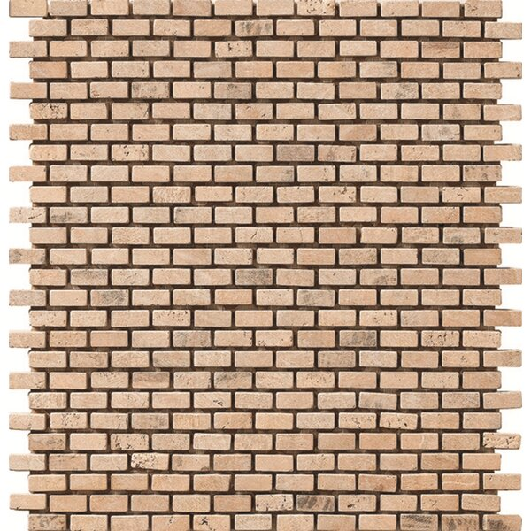 Pompeya Trav Brick Natural Stone Mosaic Tile in Beige/Red by Kertiles