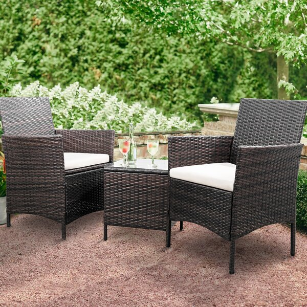 Jagger 3 Piece Rattan 2 Person Seating Group With Cushions By Brayden Studio®