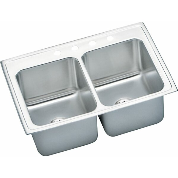 Lustertone 33 L x 22 W Double Basin Drop-In Kitchen Sink with Drain Assembly by Elkay