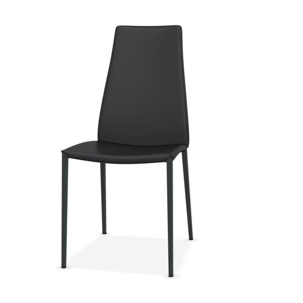 Aida Metal Genuine Leather Upholstered Dining Chair by Calligaris