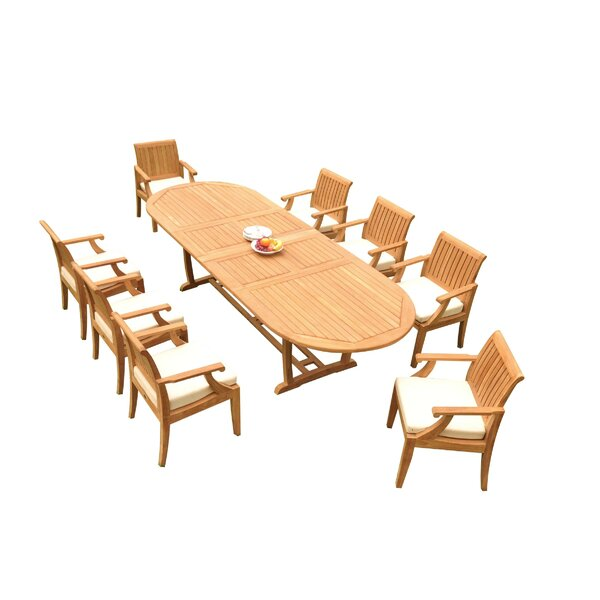 Sotelo 9 Piece Teak Dining Set by Rosecliff Heights