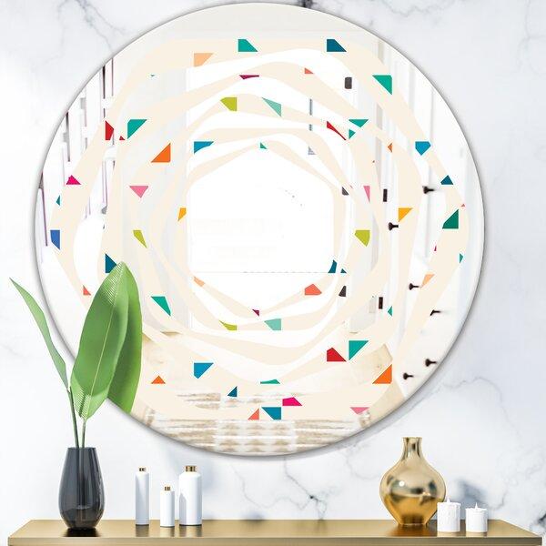 Whirl Abstract Triangular Pattern I Modern Frameless Wall Mirror