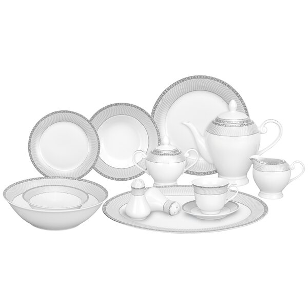 Alina Porcelain 57 Piece Dinnerware Set, Service for 8 by Lorren Home Trends