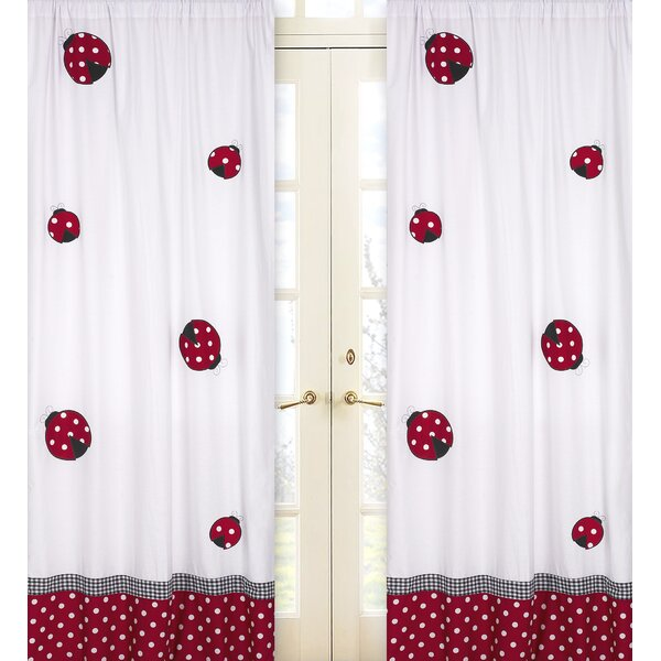 Little Ladybug Wildlife Semi-Sheer Rod Pocket Curtain Panels (Set of 2) by Sweet Jojo Designs