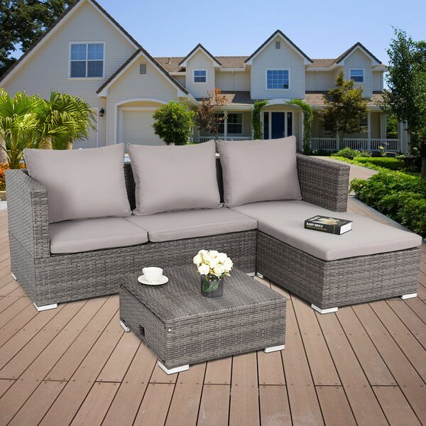 Rosalinda 3 Piece Sectional Seating Group with Cushions by Wrought Studio