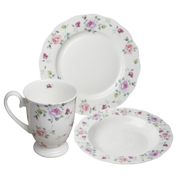 Stockwell Bone China Romantic Rose 12 Piece Dinnerware Set, Service for 4 by August Grove
