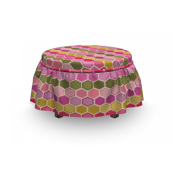 Hexagons And Dots Ottoman Slipcover (Set Of 2) By East Urban Home