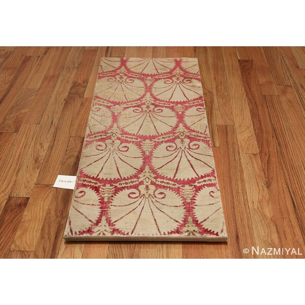 One-of-a-Kind 17th Century Hand-Knotted Before 1900 Red 1'8 x 4'2 Runner Silk Area Rug
