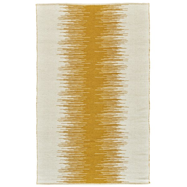 Evins Hand-Woven Wool Mustard Area Rug by Ebern Designs