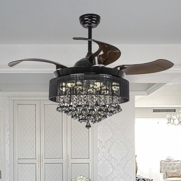 Birchley 4 Blade LED Ceiling Fan with Remote by Me