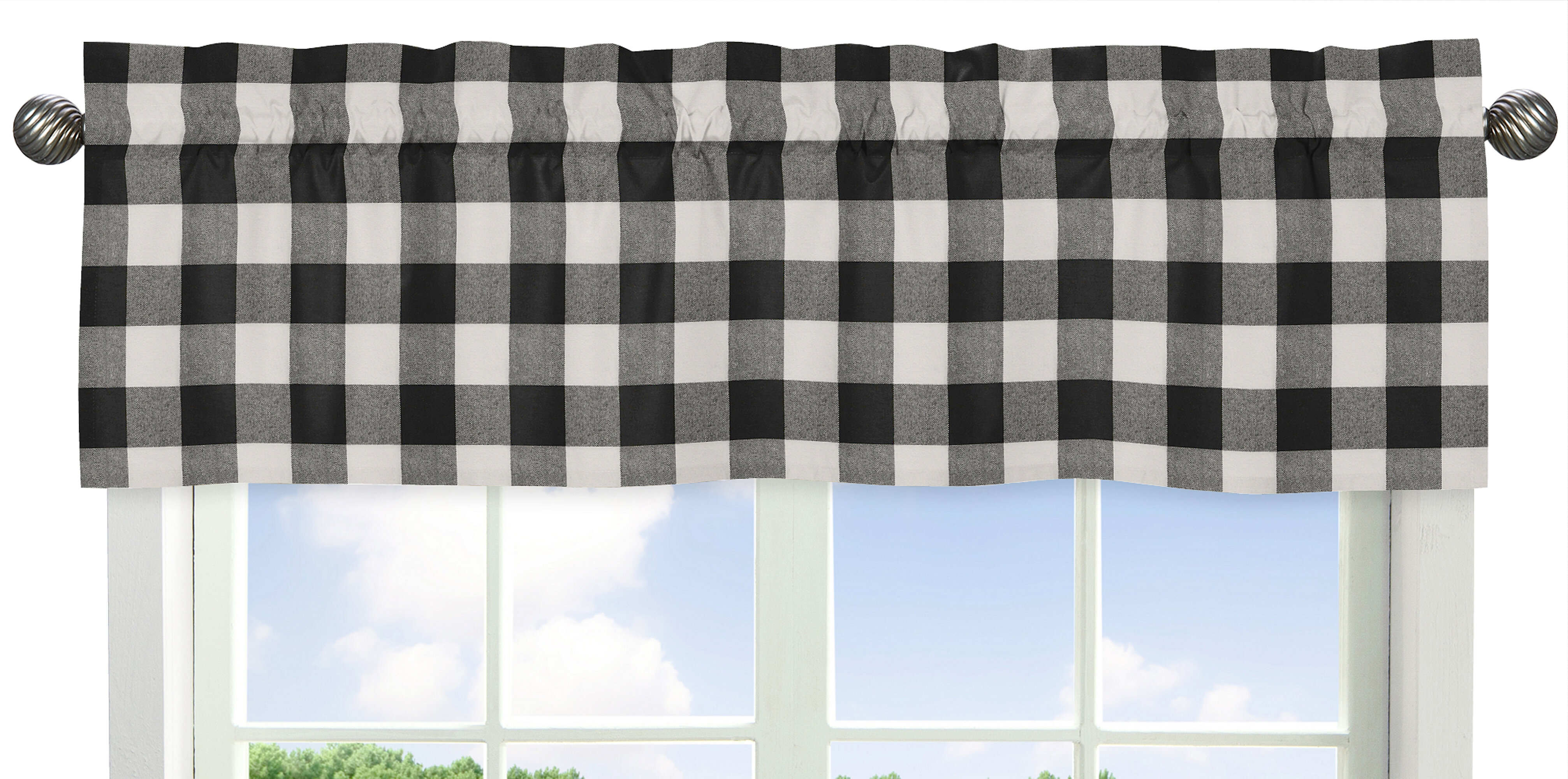 Home Kitchen Black And White Buffalo Checks Farmhouse Curtain Valance Handmade Products Avmc Edu In