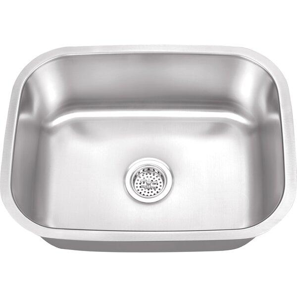 23.5 L x 17.75 W Stainless Steel 18 Gauge Single Bowl Bar Sink