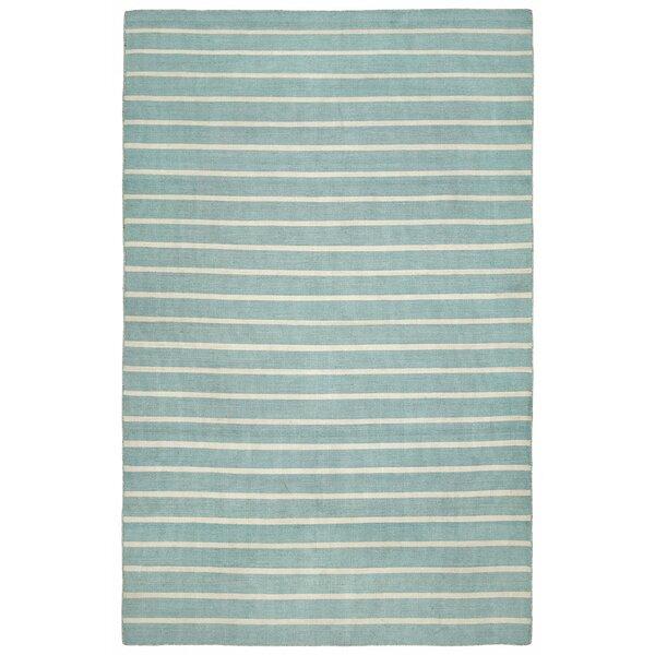 Ranier Pinstripe Hand Woven Blue Indoor/Outdoor Area Rug by Beachcrest Home