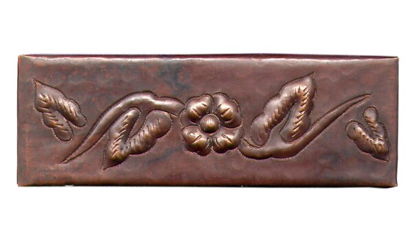 Single Flower 6 x 2 Copper Border Tile in Dark Copper by D'Vontz