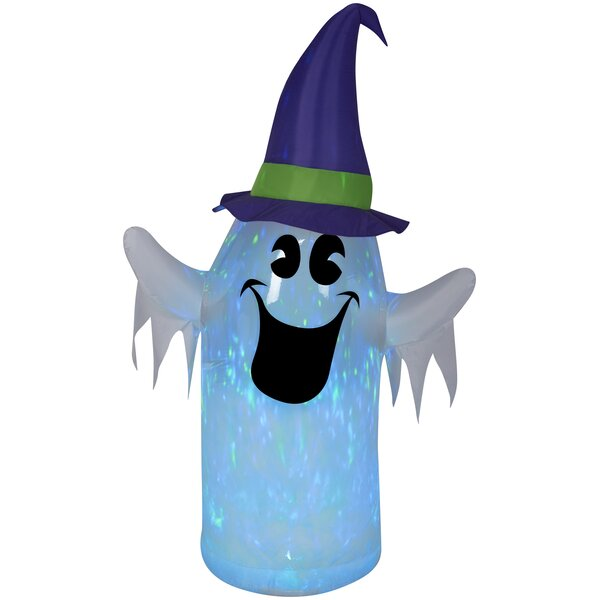 Clear Ombre PVC Projection Kaleidoscope Ghost Inflatable with Witch Hat MD (BBG) by The Holiday Aisle