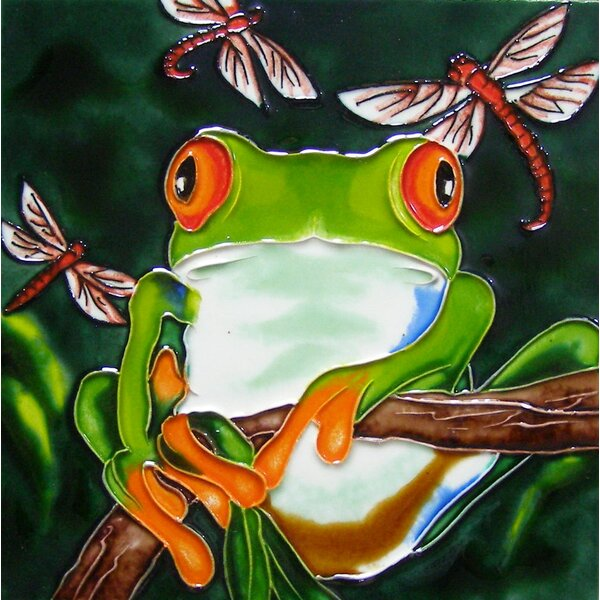 8 x 8 Ceramic Tree Frog and 3 Dragonflies Decorative Mural Tile in Green by Continental Art Center