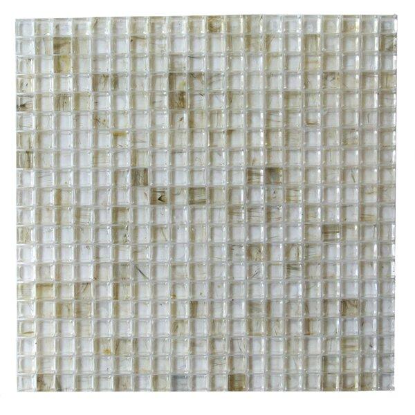4D Cube 0.63 x 0.63 Glass Mosaic Tile in Crème by Abolos