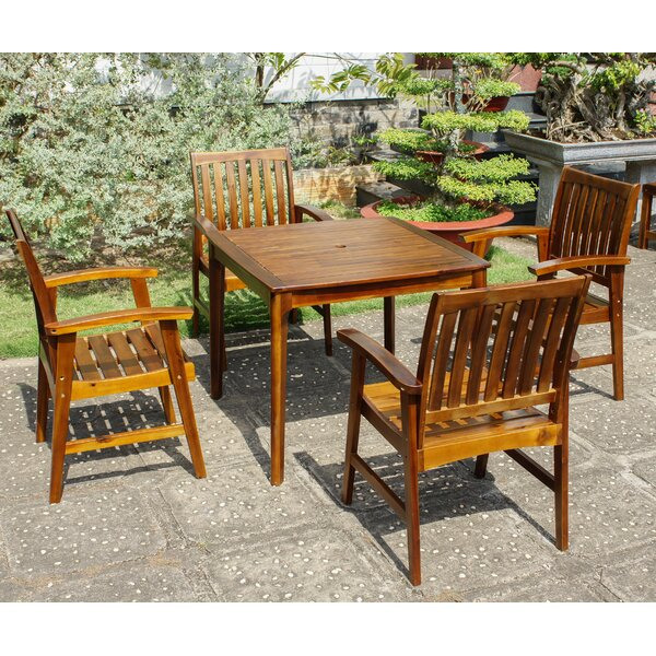 Enright Acacia 5 Piece Dining Set By Breakwater Bay