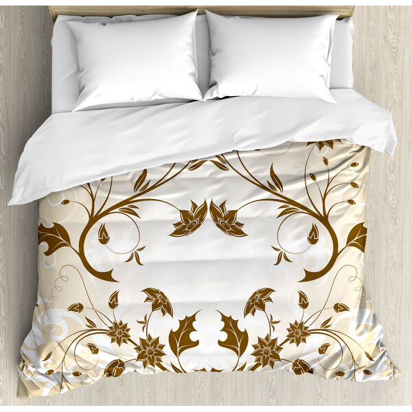 Swirled Petals Leaf Figures Classic Blooms Florets Background Artsy Design Duvet Set by East Urban Home