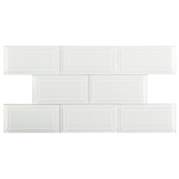 Sierra 3 x 6 Glass Subway Tile in Glossy Ice white by EliteTile