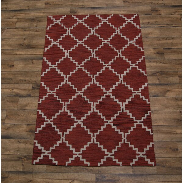 Lam Trellis Oriental Hand-Tufted Wool Red/Burgundy Area Rug by Union Rustic