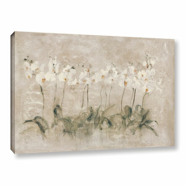 White Dancing Orchids Painting Print on Wrapped Canvas by Lark Manor