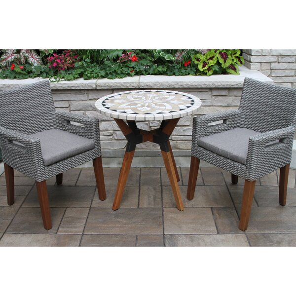 Moana 3 Piece Bistro Set with Cushions