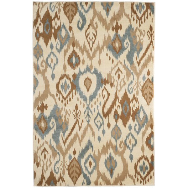 Ikat Cream & Blue Area Rug by Lavish Home
