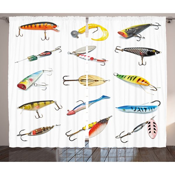 Several Fish Hook Decor Wildlife Room Darkening Rod Pocket Curtain Panels (Set of 2) by East Urban Home